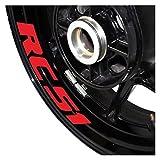 Reifen Dekoration Aufkleber Motorradaufkleber wasserdichter Zierstreifen mit reflektierenden Moto Innenring Aufkleber für SU-ZU- KI RF900R (Color : Reflective Red)