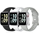 Maledan 3 Stück Armband Kompatibel mit Apple Watch Armband 44mm 42mm 40mm 38mm 41mm 45mm, Weiche Silikon Ersatz Sport Band für iWatch SE/Series 7 6 5 4 3, 38mm/40mm/41mm-S/M, Schwarz/Weiß/G
