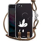 DeinDesign Carry Case kompatibel mit Apple iPhone 7 Hülle mit Kordel aus Leder Handykette zum Umhängen braun Silber Mickey Mouse Offizielles Lizenzprodukt Disney