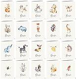 20 Dankeskarten mit 20 verschiedenen Aquarell-Tierzeichnungen auf der V