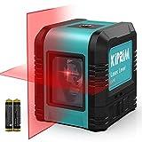 Kreuzlinienlaser, Kiprim LV1R Selbstnivellierend Linienlaser 15M ± 0,2 mm/m, 360° Umschaltbar Vertikale/Horizontale Roter Laser IP54 Staub & Wasserschutz inkl. 2*AA Batterien & S