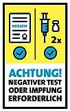 FRUITPRINTS StarfruitSigns - 3er Set Aufkleber - Zutritt mit negativem Test oder Impfung - Format 13 x 21 cm - Gelb & Blau - Hinweis für Tür Fenster W