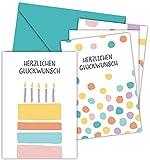 FRUITPRINTS CherryCards - 8er Set Grußkarten & Umschläge - Klappkarten B6 Grußkartenformat (Set 1 - Konfetti/Torte)