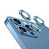 qichenlu [6 Stück・2 Sets Kamera Linsen Glas mit Aluminium Rand kompatibel mit iPhone 13 Pro Max,Einzeln Linsenabdeckung Metall Rahmen (Blau) Hinten Kamera S
