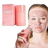 1 Stück Rosa Kaolin Purifying Lehm-Stock-Maske rosa Kaolin-Peeling-Maske Anti-Akne-Fest-Gesichtsmaske Gesicht und Augencreme 40g Gut für Aller Hauttypen Frauen Mädchen Teenag