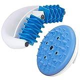 RollMag - Anti Cellulite Massageroller mit Magneten - Faszien Massagegerät gegen Orangenhaut - Massagehandschuh für straffe Haut (Blau + CelluMag)