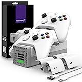 Fosmon Quad PRO 2 Ladestation Kompatibel Mit Xbox Series X/S, Xbox One/One X/One S Elite Controllers, Dual Docking Station + 2 Akku Ladegerät, 4 x 2200mAh Wiederaufladbare Batterie - Weiß