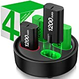 4-Packs Akku für Xbox One/Series X&S Controller, 1200mAh Wiederaufladbare Akku mit LED-Anzeige Akku Ladestation für Xbox Series X/Xbox Series S/Xbox One S/Xbox One X/Xbox One Elite/Xbox One C