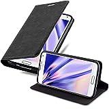 Cadorabo Hülle für Samsung Galaxy S5 Mini / S5 Mini DUOS in Nacht SCHWARZ - Handyhülle mit Magnetverschluss, Standfunktion und Kartenfach - Case Cover Schutzhülle Etui Tasche Book Klapp Sty