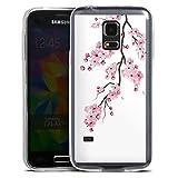 DeinDesign Slim Case extra dünn kompatibel mit Samsung Galaxy S5 Mini Silikon Handyhülle transparent Hülle Kirschblüten Jap
