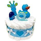 Kleine Windeltorte Badeentchen Hugo Blau 23tlg. Geschenk zur Taufe oder Geburt Geschenkfertig in Celophan verpack