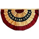 Anley Vintage Style Tee gebeizt USA Plissee Fan Flagge 1,5x3 Fuß Nylon - Gestickte Sterne und genähte Streifen - 4 Reihen von Lock Stitching - Antiquierte USA Plissee Fan Flags mit Messing Ö