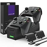 Fosmon Dual Controller Ladestation Kompatibel Mit Xbox Series X/S 2020 (Nicht Für Xbox One / 360) Controller, (Dual Slot) Docking Station Schnell Ladegerät und 2X Akku Batterien - Schw