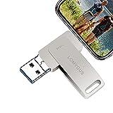 LOMYGUS Foto Stick 128 GB USB Flash Drive Memory Stick High Speed Backup kompatibel iOS Windows Android System Phone Pad PC (Silber 128 GB)