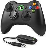 Dhaose 2,4GHz Wireless Controller für Xbox 360 PC, Verbessertes Ergonomisches Design Dual-Vibration Gamepad Joystick mit Empfänger für Xbox 360/PC Windows 7/8/10