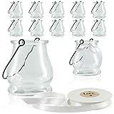 WeddingTree 12 x Windlicht Glas mit Bügel und Dekoband weiß - Teelichtgläser - Einfach Abnehmbarer Metallbügel - Deko für Hochzeit (Klassik)