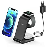 3 in 1 Wireless Charger, NorSway Schnelles Kabelloses Ladegerät mit Adapter, Qi induktive Ladestation Kompatibel mit AirPods und iWatch 6/5/4/3/2 iPhone 12/11 Pro Max Mini/XS/XR/X/8+/Galaxy S21/S20