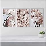 Rosa Pfingstrose Blume Bilder Poster Wandkunst Druck Leinwand Malerei Schlafzimmer Wohnzimmer Kein Rahmen 3PCS (3x40x60cm)