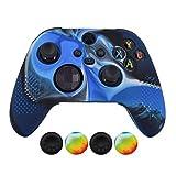 Hikfly Controller-Hülle für Xbox Series X Controller, kompatibel mit Xbox Series X/S Controller-Griffe, rutschfest, mit Nieten, Silikon, mit 4 Daumengriff-Kappen (Camoblau)