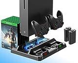 ElecGear Xbox One Vertikaler Ladeständer mit Lüfter Kühler, 2X 1200mAh Akku für Controller Ladestation, Aufbewahrungshalter für Spiele, Ladegerät Docking Station für Xbox One, One S, One X, E