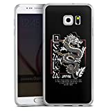 DeinDesign Slim Case extra dünn kompatibel mit Samsung Galaxy S6 Edge Plus Silikon Handyhülle transparent Hülle Japan Drache M