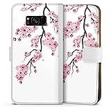 DeinDesign Klapphülle kompatibel mit Samsung Galaxy S8 Plus Duos Handyhülle aus Kunst Leder weiß Flip Case Kirschblüten Jap