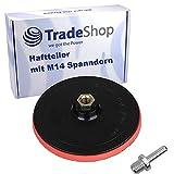 Trade-Shop Klett Haftteller/Schleifteller/Stützteller/Polierteller inkl. M14 Spanndorn Adapter für Winkelschleifer Poliermaschinen/Ø 150