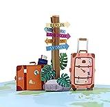 MOKIO® Pop-Up Reisegutschein – 3D Gutscheinkarte zum Urlaub, Geburtstag oder Abschied – Geldgeschenk für Urlaubsgeld, Geschenkkarte zur Reise, Urlaubsg