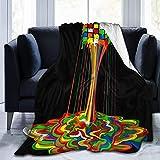 Velvet Throw Blanket Rainbow Abstraction Geschmolzener Rubix Cube Ultraweiche leichte, gemütliche, warme, warme Micro-Flanell-Fleece-Decke aus Mikrofaser für den Couch-S