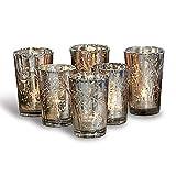 Loberon Windlichter 6er Set Latona, Weihnachtsdeko, Glas, H/Ø ca. 10/7 cm, antiksilb