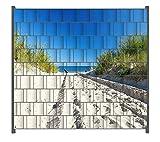 Wallario Zaun Sichtschutz Windschutz für Doppelstabmattenzäune in der Größe Breite 2,00m x Höhe 1,80m, Motiv: Auf dem Sandweg zum Strand - Blauer Himmel über dem M