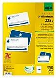 SIGEL LP850 Visitenkarten 3C, 100 Stück (10 Blatt), beidseitig bedruckbar, hochweiß, glatter Schnitt rundum, 225 g, 85x55