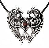 Anhänger Dragon Heart Drachenherz zwei Drachen aus 925 Sterling Silber mit rotem Zirkonia Lieb