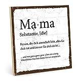 TypeStoff Holzschild mit Spruch – Mama – im Vintage-Look mit Zitat als Geschenk und Dekoration zum Thema Mutter, Mutti und Muttertag (Größe: 19,5 x 19,5 cm)