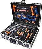 DEXTER - 130-teiliger Werkzeugkoffer - mit Zangen, Schlüssel, Schraubendreher, Metallsäge und vieles mehr - Werkzeugset - Werkzeugkoffe - Werkzeugk