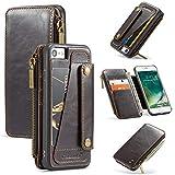 Handyhülle für iPhone 7/8 Hülle Lederhülle Leder PU Flip Schutzhüllen aus Klappetui Tasche Anti-Scratch 2 in 1 Multifunktion Geldbörse Geldbeutel Hülle mit iPhone 7/8 (i8,Brown)