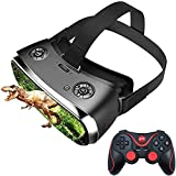3D-Virtual-Reality-Headset Nibiru Android All-in-One HD 2K VR-Brille mit Gamepad, Drahtlose WiFi-Virtual-Reality-Brille Bluetooth Smart Glasses Helm für HDMI IMAX Filme Videospiele,Schw