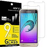 NEW'C 2 Stück, Schutzfolie Panzerglas für Samsung Galaxy J3 2015, Frei von Kratzern, 9H Härte, HD Displayschutzfolie, 0.33mm Ultra-klar, Ultrabeständig