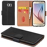 Aicoco Galaxy S6 Hülle Schutzhülle Tasche Flip Case für Samsung Galaxy S6 Handyhülle - Schw