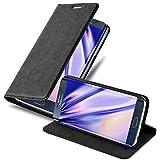 Cadorabo Hülle für Samsung Galaxy S6 Edge in Nacht SCHWARZ - Handyhülle mit Magnetverschluss, Standfunktion und Kartenfach - Case Cover Schutzhülle Etui Tasche Book Klapp Sty