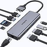 USB C Adapter für MacBook Pro Air 2021, 2020, 2019 etc,USB C Docking Station 9 in 2 Dual Monitor mit 4K HDMI, 3 USB, Gigabit Ethernet, SD/TF Card Kartenleser und 100W PD USB C Anschlü