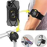 Bone Run + Bike-Tie-Connect Kit, 360° Drehbarer 2 IN 1 Abnembarer Handyhalterung zum Joggen Radfahren, Universales Sportarmband Fahrradhalterung für Smartphone 4,7-7,2 Zoll, Fahrradcomp