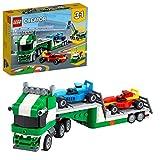 LEGO 31113 Creator 3-In-1 Rennwagentransporter Spielzeug LKW mit Anhänger, Kran und Boot, Rennwagen Autotransporter, Spielzeugauto für Kinder ab 7 J