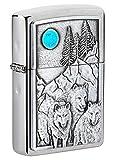 Zippo 49295 Unisex-Erwachsene and Moon Emblem Brushed Pocket Lighter Feuerzeug, Gebürstetes Chrom Wolf Pack und Mond, Einheitsgröß