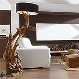 Standlampe Holz Teak RIAZ XL 200cm   Lampe aus Wurzelholz in Handarbeit gefertigt   mit Lampenschirm   Außergewöhnliche Stehlampe Holz aus echter Teak Wurzel   Teakholzlampe   Treibholz Lamp