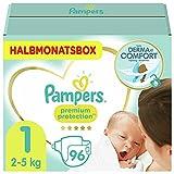 Pampers Baby Windeln Größe 1 (2-5kg) Premium Protection, 96 Stück, HALBMONATSBOX, Pampers Weichster Komfort Und S