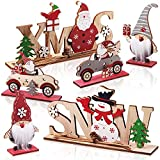 Jetec 6 Stücke Weihnachten Holztisch Schilder Weihnachtsmann Tischplatte Zeichen Schneemann Weihnachten Tischdekoration Weihnachten Holz Tischdekoration für Winter Weihnachten Party Dek