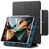 ESR Magnetische Hülle kompatibel mit iPad Pro 12.9 2021 (5.Generation) / 2020 (4.Generation), Auto Schlafen/Wachen, Smart Case mit Pencil 2 Unterstützung und Trifold Ständer,Schw