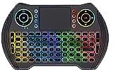 Mini-Tastatur, kabellos, Multimedia-Tastatur, Touch-Pad, Maus-Kombination mit 7 Farben, Hand-Fernbedienung, LED-Hintergrundbeleuchtung, wiederaufladbar, für PC, Laptop, Smart TV, HTPC, Window