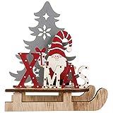 BESPORTBLE Weihnachten Holz Schriftzug Weihnachtsmann Figur Xmas Deko Aufsteller Objekt Mini Weihnachtsbaum Schlitten 3D Holzpuzzle Weihnachten Tischdekoration Weihnachtsschmuck Geschenk